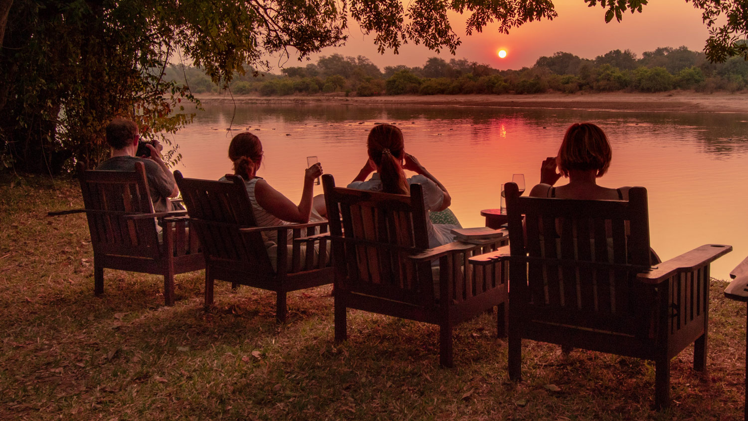 Luambe Luangwa Valley Sunset Cocktails Lodge Views