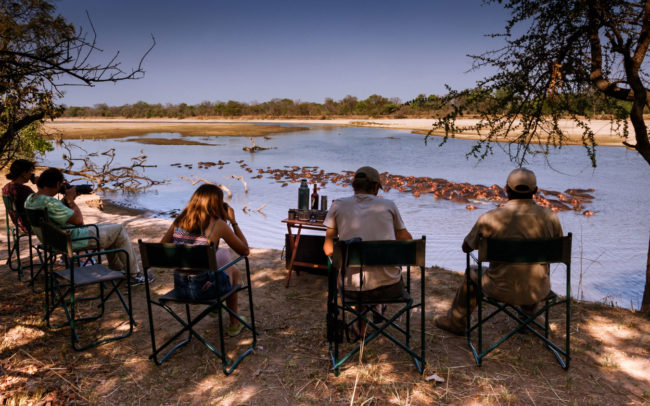 Morning breakfast on the banks of the Luangwa River