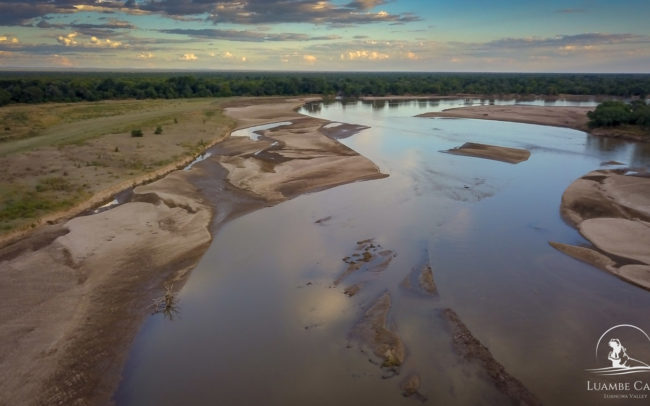 Aerial views of the Luangwa River and Luambe Camp - Luambe National Park
