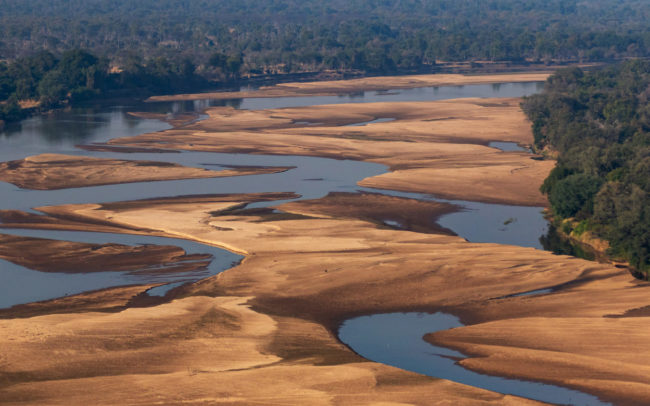 Aerial views of the Luangwa River - Luambe National Park